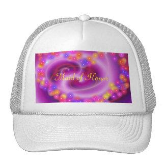 Maid of Honor Swirly Heart Hat