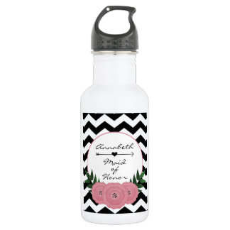 Maid of Honor Water bottle - Floral Chevron design 532 Ml Water Bottle
