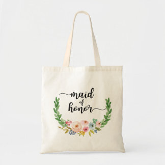 Maid of Honor Watercolor Floral Tote Bag