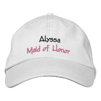 Maid of Honor Wedding Hat Custom Name and Role Embroidered Cap