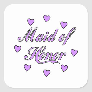 Maid of Honor Wedding Hearts Square Sticker