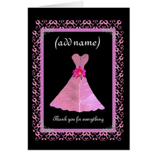 MAID OF HONOR Wedding Thank You - PINK Gown Greeting Card
