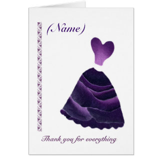 MAID OF HONOR Wedding Thank You - PURPLE Gown Card