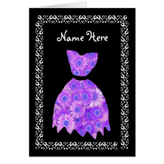 MAID OF HONOR Wedding Thank You PURPLE Gown Card