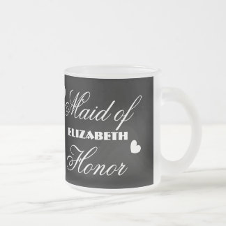 Maid of Honor with Hearts A01C Frosted Glass Mug