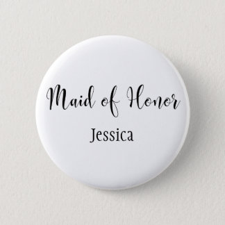 Maid of Honour Black Script Typography w/ Name 6 Cm Round Badge