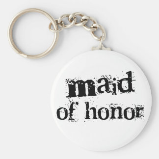 Maid of Honour Black Text Basic Round Button Key Ring