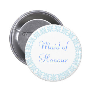 Maid of Honour Blue Flowers I.D. Button
