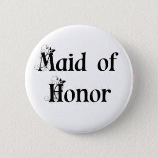 Maid of Honour Button/Badge 6 Cm Round Badge