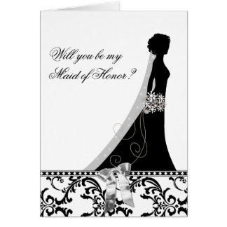 Maid of Honour Cards with Damask Bridal Veil Bow