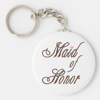 Maid of Honour Classy Browns Basic Round Button Key Ring