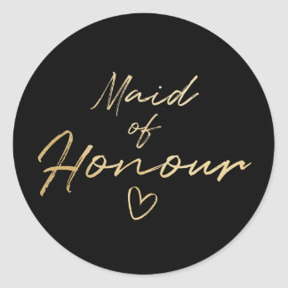 Maid of Honour - Gold faux foil sticker