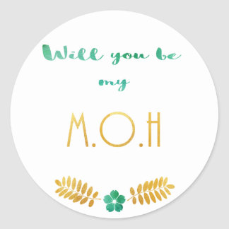 Maid of honour green and gold round sticker