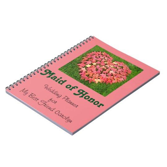 Maid of Honour notebooks Wedding Planner custom