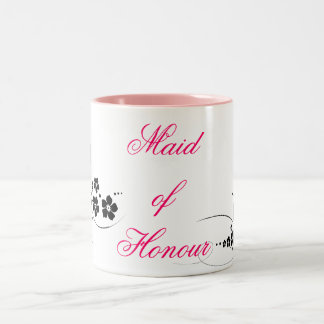 Maid of Honour pink and black Two-Tone Mug