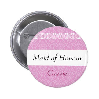 MAID OF HONOUR Pink Damask and Lace Wedding 6 Cm Round Badge