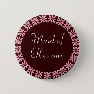 Maid of Honour Pink Flowers I.D. Button