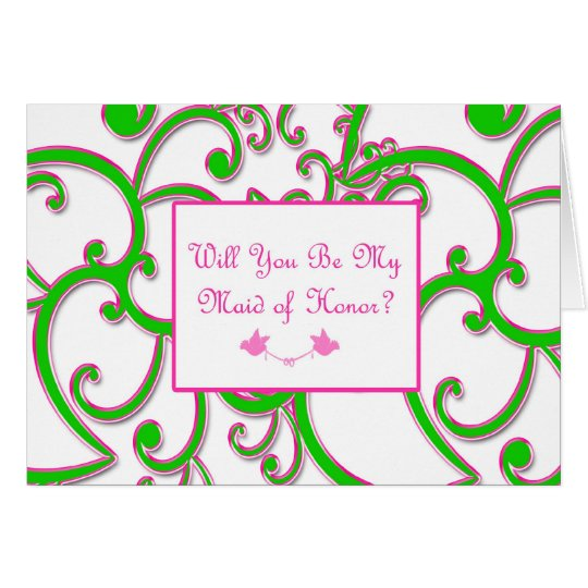 Maid of Honour Pink Green Card
