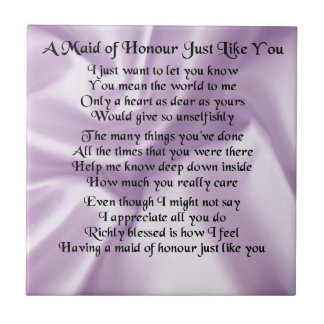 Maid of Honour Poem - Lilac Silk design Small Square Tile
