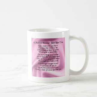 Maid of honour poem - Pink silk Basic White Mug