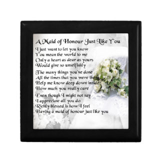 maid of honour poem - Wedding Bouquet design Gift Box