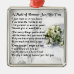 maid of honour poem - Wedding Bouquet design Silver-Colored Square Decoration