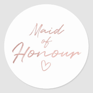 Maid of Honour - Rose Gold faux foil sticker