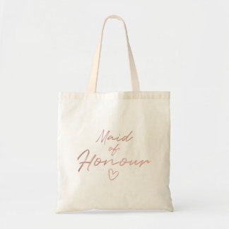 Maid of Honour - Rose Gold faux foil tote bag