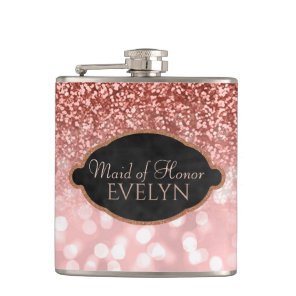Maid of Honour Rose Gold Glitter Custom Wedding Hip Flask