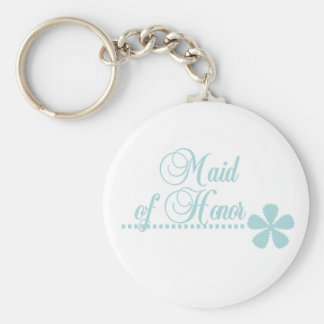 Maid of Honour Teal Elegance Basic Round Button Key Ring