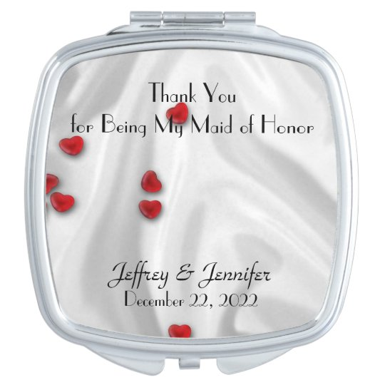 Maid of Honour Thank You Hearts Compact Mirror