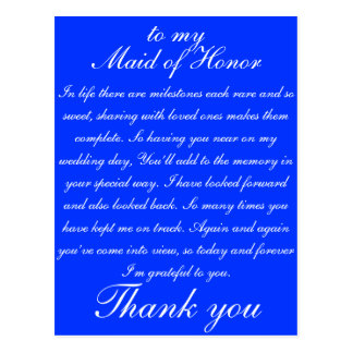 Maid of Honour Thank you Postcard