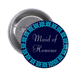Maid of Honour Turquoise Flowers I.D. Button