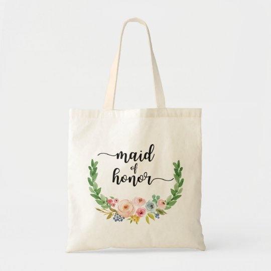 Maid of Honour Watercolor Floral Tote Bag