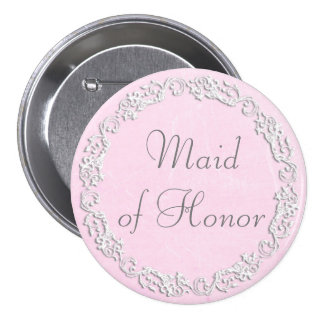 Maid of Honour Wedding Bridal Shower Party Button