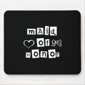 Maid of Honour White on Black Mouse Pad