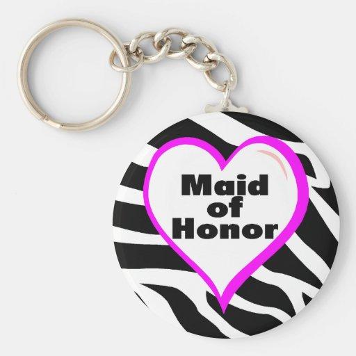 Maid Of Honour (Zebra Stripes) Basic Round Button Key Ring