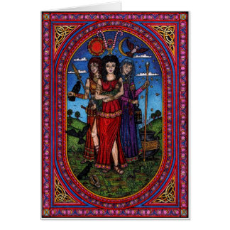 maid to crone, the Morr'igan, Isis and Hecate rb Greeting Card