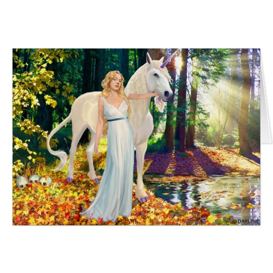 Maiden and Unicorne Healing Greeting Card