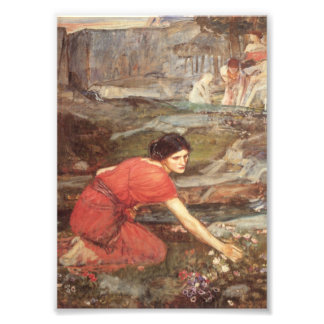 Maiden Picks Flowers by a Stream Photograph