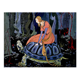 Maiden & Turtle ~ French Fairy Tale Art Painting Postcard