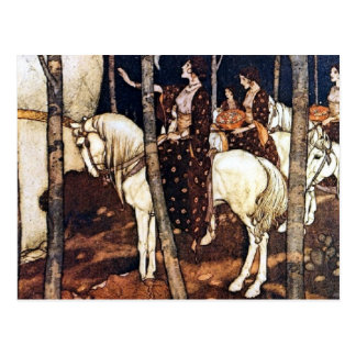 Maidens on White Horses Postcard