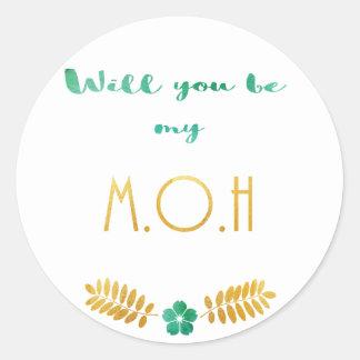 Maidofhonor green gold round sticker
