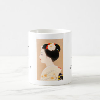 Maiko japanese girl in kimono lady woman geisha basic white mug