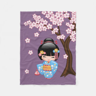 Maiko Kokeshi Doll - Blue Kimono Geisha Girl Fleece Blanket