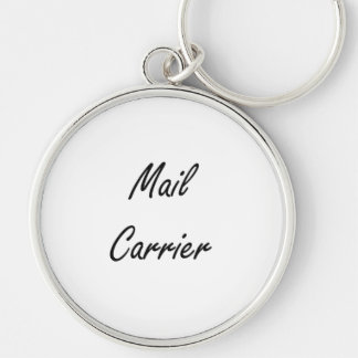 Mail Carrier Artistic Job Design Silver-Colored Round Key Ring