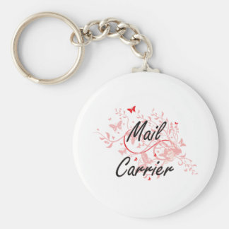 Mail Carrier Artistic Job Design with Butterflies Basic Round Button Key Ring