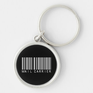 Mail Carrier Bar Code Silver-Colored Round Key Ring