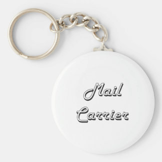 Mail Carrier Classic Job Design Basic Round Button Key Ring