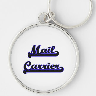 Mail Carrier Classic Job Design Silver-Colored Round Key Ring